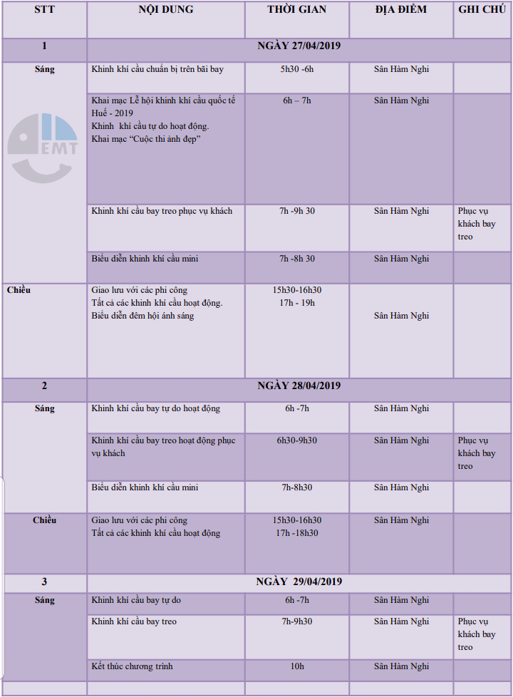 chương trình và giá vé lễ hội khinh khí cầu huế