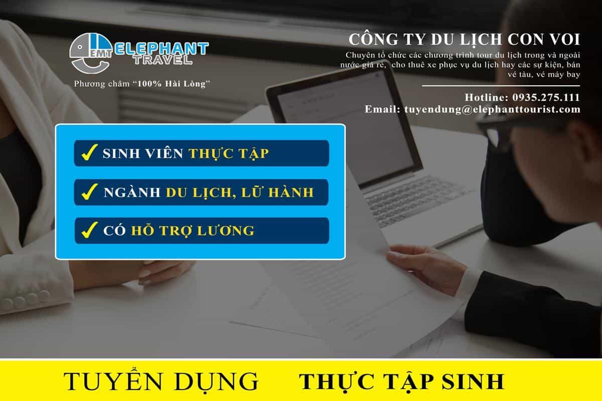 Du Lịch Con Voi Thông báo tuyển thực tập sinh tháng 09/2019